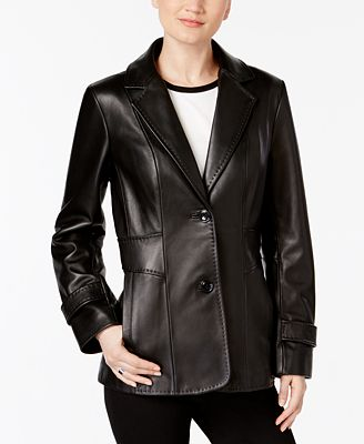 Jones New York Leather Blazer Jacket - Coats - Women - Macy's