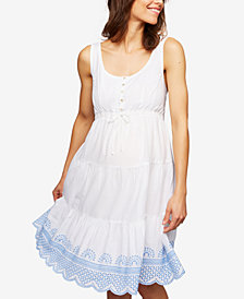 Seraphine Maternity Embroidered Cotton Dress
