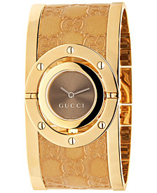 Gucci Women's Swiss Twirl Yellow Gold Plated Stainless Steel and Guccissima Leather Bangle Bracelet Watch 23.5mm YA112434