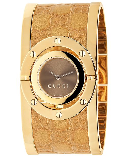 d3ac6985866 ... Gucci Women s Swiss Twirl Yellow Gold Plated Stainless Steel and  Guccissima Leather Bangle Bracelet Watch 23.5 ...