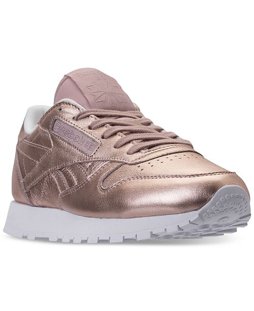 87245c1bbde ... Reebok Women s Classic Leather Metallic Casual Sneakers from Finish ...