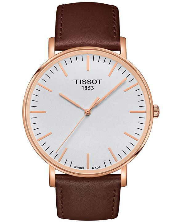 Tissot Men's Swiss Everytime Brown Leather Strap Watch 42mm