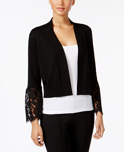 Calvin Klein Plus Size Lace Bell-Sleeve Shrug