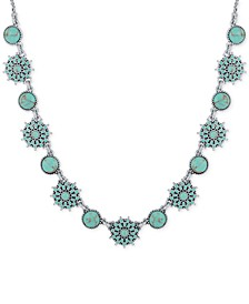 Silver-Tone Blue Stone Collar Necklace