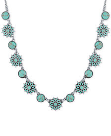 Lucky Brand Silver-Tone Blue Stone Collar Necklace