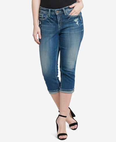Silver Jeans Co. Plus Size Suki Ripped Capri Jeans - Silver Jeans Co. Plus Size Suki Ripped Capri Jeans - Jeans - Plus