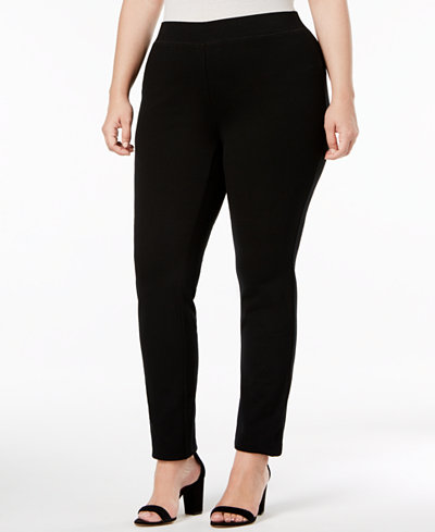INC International Concepts Plus Size Ponte Pull-On Skinny Pants, Only at Macy's