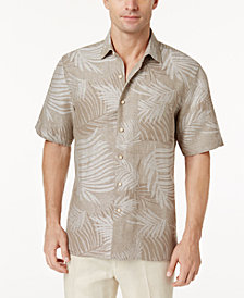 Tasso Elba Linen Leaf Jacquard Silk Linen Blend Short-Sleeve Shirt, Created for Macy's