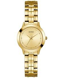 GUESS Women's Gold-Tone Stainless Steel Bracelet Watch 30mm