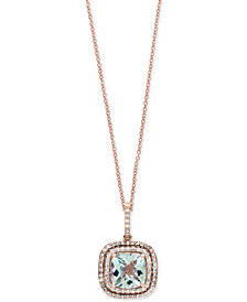 Final Call by EFFY® Aquamarine (1-3/4 ct. t.w.) & Diamond (1/4 ct. t.w.) Pendant Necklace in 14k Rose Gold