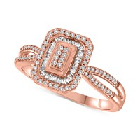 Diamond Halo Ring (1/4 ct. t.w.) in Sterling Silver, 10k Gold-Plated Sterling Silver or 10k Rose Gold-Plated Sterling Silver