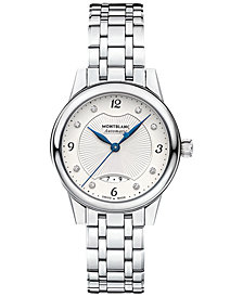 Montblanc Women's Swiss Diamond-Accent Bohème Date Automatic Stainless Steel Bracelet Watch 28mm