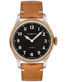 Men's Swiss 1858 Automatic Brown Leather Strap Watch 44mm