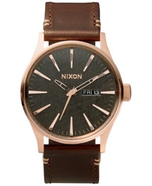 NIXON Men'S Sentry Leather/Canvas Strap Watch 42Mm in Rose Gold