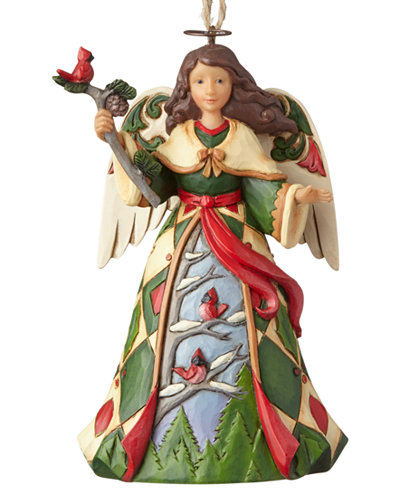 Jim Shore Green Angel With Cardinals Hanging Ornament