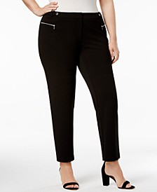 Plus Size Zip-Pocket Straight-Leg Pants