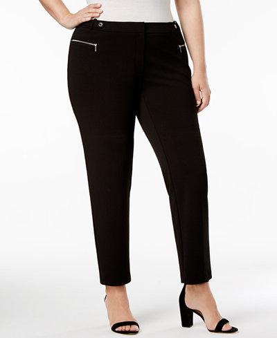 Calvin Klein Plus Size Zip-Pocket Straight-Leg Pants