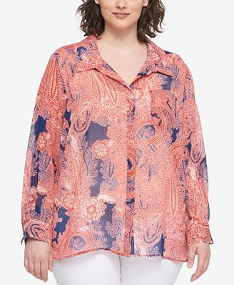 Tommy Hilfiger Plus Size Paisley-Print Sheer Shirt, Created for Macy's