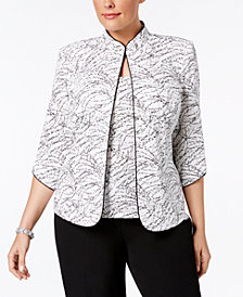 Alex Evenings Plus Size Printed Mandarin Jacket and Top