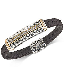 Esquire Men's Jewelry Diamond Brown Woven Leather Bracelet (1/4 ct. t.w.), Created for Macy's