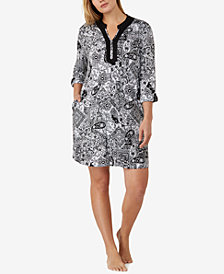 Ellen Tracy Plus Size Split-Neck Printed Knit Sleepshirt