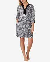 4eade95e96 Ellen Tracy Plus Size Split-Neck Printed Knit Sleepshirt