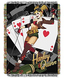 Harley Quinn Clown Triple Woven Tapestry Throw