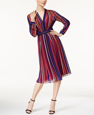 Anne Klein Striped Midi Dress