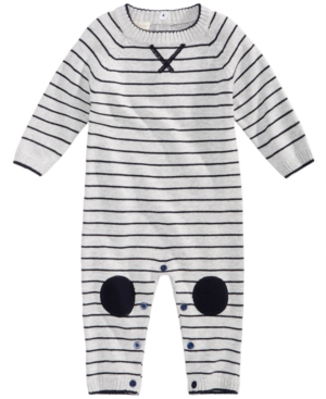 First Impressions Striped Cotton Sweater Coverall Baby Boys (024 months) Created for Macys