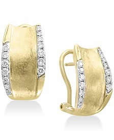 D'oro by EFFY® Diamond Hoop Earrings (3/8 ct. t.w.) in 14k Gold