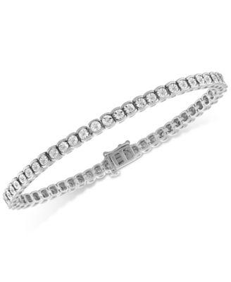 "32.00 Carat Round White Tennis Bracelet 7.5/"" in 18K White Gold Plated"