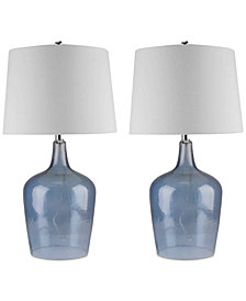 Abbyson Set of 2 Zen Blue Glass Table Lamps