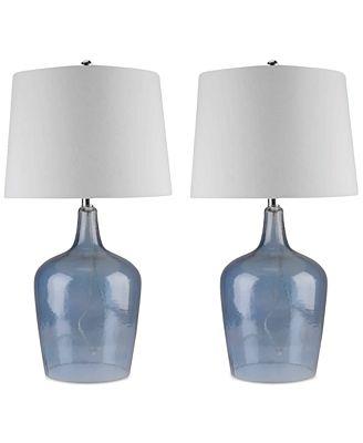 Abbyson Living Abbyson Set Of 2 Zen Blue Glass Table Lamps