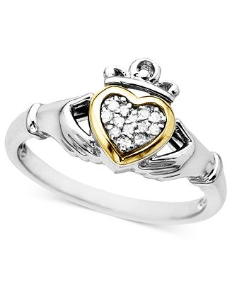 14k Gold and Sterling Silver Ring Diamond Accent Claddagh Rings