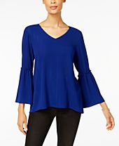 Style & Co Metallic Bell-Sleeve Top, Created for Macy's