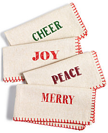 Homewear Holiday Typography Set of 4 Napkins