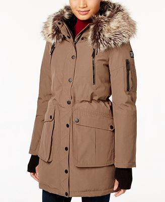BCBGeneration Faux-Fur-Trim Parka - Coats - Women - Macy's