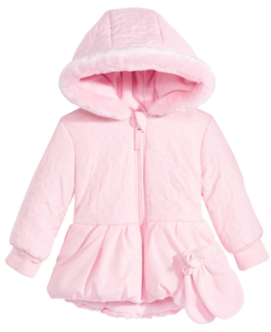 S Rothschild Hooded Quilted Puffer Coat With FauxFur Trim  Mittens Baby Girls (024 months)