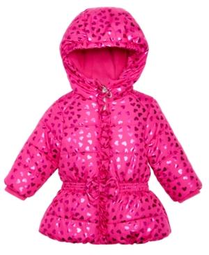 S Rothschild Foil HeartPrint Hooded Puffer Coat Baby Girls (024 months)