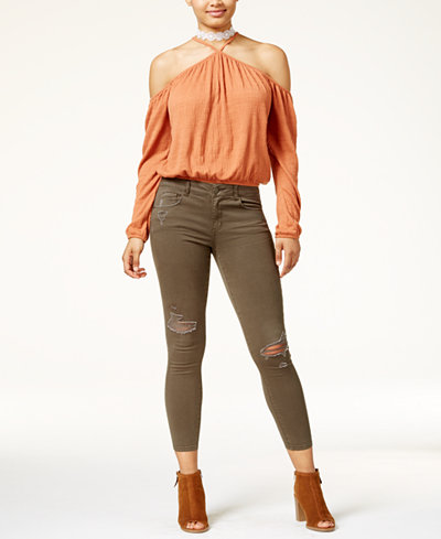 American Rag Juniors' Cold-Shoulder Top & Ripped Skinny Jeans, Created for Macy's