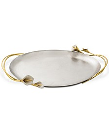 Calla Lily Handled Oval Tray