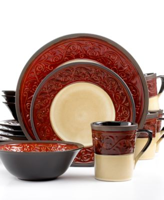 Signature Living Signal Hill Burgundy 16 Pc. Set, Service For 4   Dinnerware    Dining U0026 Entertaining   Macyu0027s