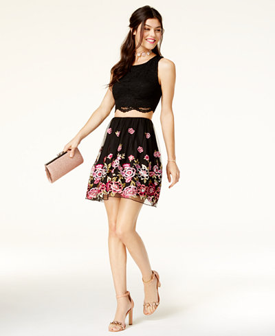 City Studios Juniors 2 Pc Lace Embroidered Dress A Macy