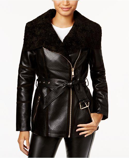 e015a5ad0e57 GUESS Faux-Shearling Asymmetrical Coat   Reviews - Coats - Women ...