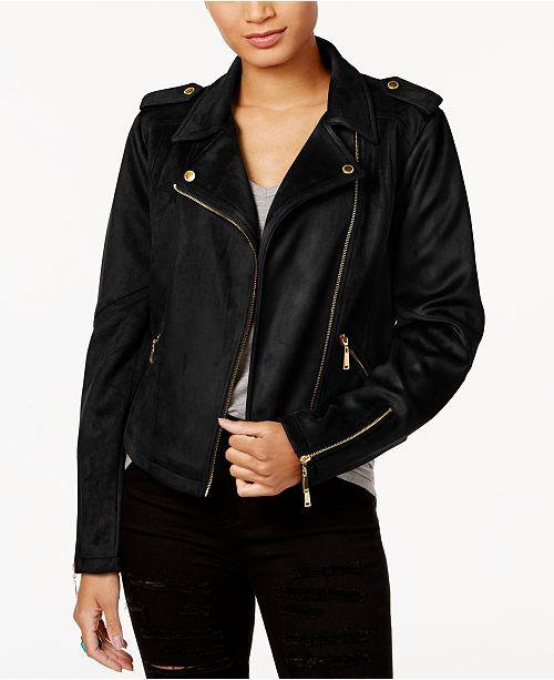 96c761a8d68 Jou Jou Juniors  Faux-Suede Moto Jacket   Reviews - Coats - Women ...