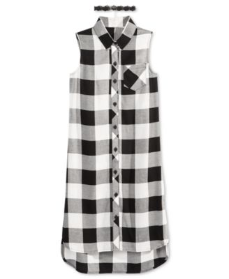 Image of Sequin Hearts Plaid Sleeveless Shirt with Necklace, Big Girls (7-16)