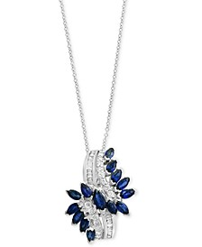 Royalé Blue by EFFY® Sapphire (1-3/4 ct. t.w.) & Diamond (1/3 ct. t.w.) Pendant Necklace in 14k White Gold