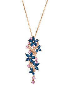 Multi-Sapphire (3-3/8 ct. t.w.) & Diamond (1/10 ct. t.w.) Pendant Necklace in 14k Rose Gold