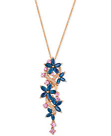 Le Vian® Multi-Sapphire (3-3/8 ct. t.w.) & Diamond (1/10 ct. t.w.) Pendant Necklace in 14k Rose Gold