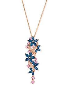 Le Vian® Multi-Sapphire (3-3/8 ct. t.w.) & Diamond (1/10 ct. t.w.) Pendant Necklace in 14k Rose Gold